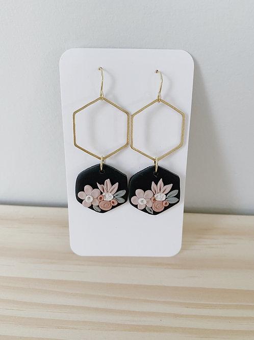 Pili Black Floral Earrings | Something Handmade