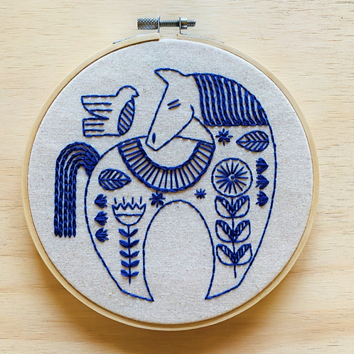 Hygge Horse Complete Embroidery Kit | Hook, Line + Tinker