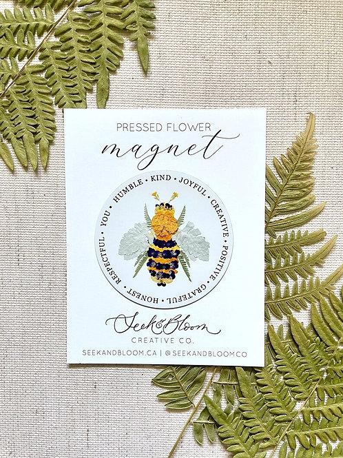 Pressed Flower Bee Design Magnet   Seek + Bloom