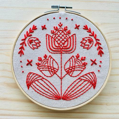 Tulips in Symmetry Embroidery Kit | Hook, Line + Tinker