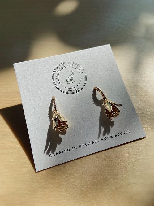 Gold Flower Earrings with Cubic Zirconia Hooks | Elephant/Castle