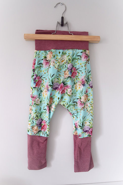 Grow-With-Me Pants | Turquoise Roses + Rose
