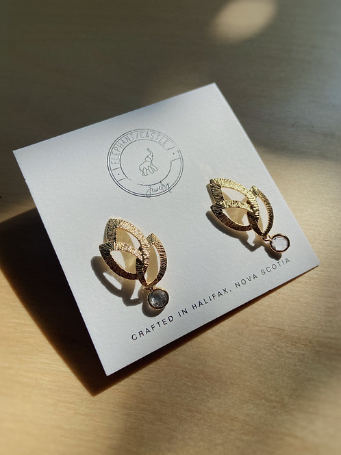 Gold Stud Earrings with Cubic Zirconia Charm   Elephant/Castle