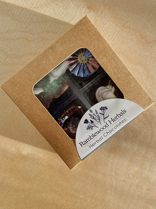 Mixed Chocolate Truffles- Box of 4    Ramblewood Herbals