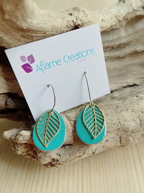 Leaf Teardrop Earrings in Teal | Aflame Creations