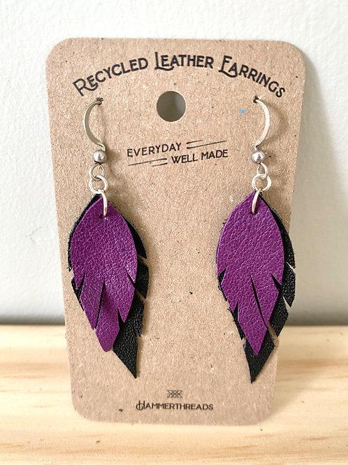 Leather Purple + Black Feather Earrings | Hammerthreads