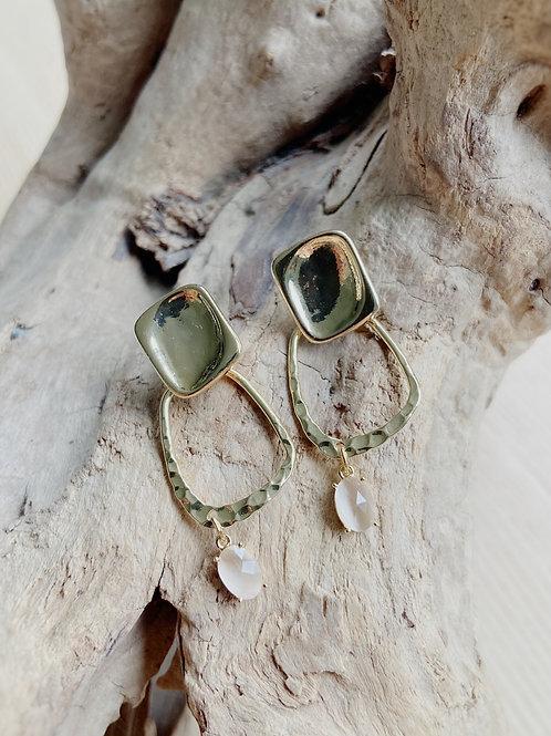 Gold Rectangular Stud + Peach Venetian Glass Earrings | Elephant/Castle b
