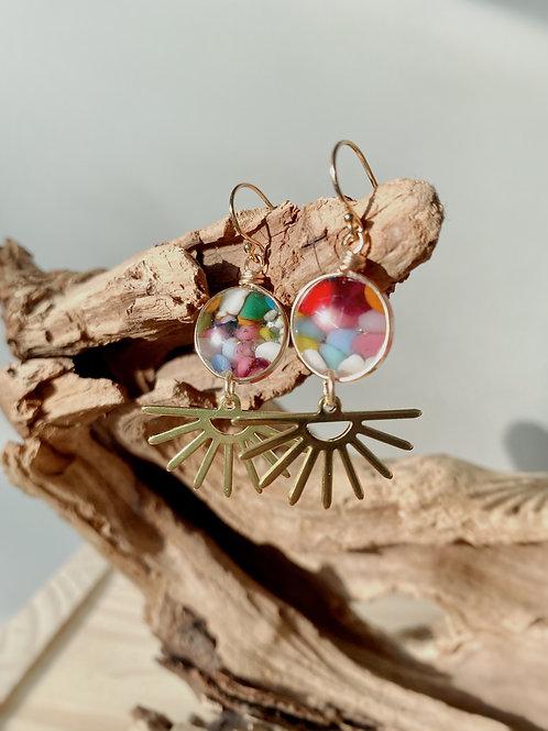 Fused Glass Gold Sunset Earrings   Rainbow Confetti   Urban