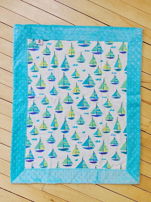 Minky Blanket | Blue Sailboats | RoseBay Quilts