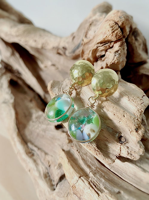 Fused Glass Gold Hammered Stud Earrings   Teal + Green Confetti   Urban