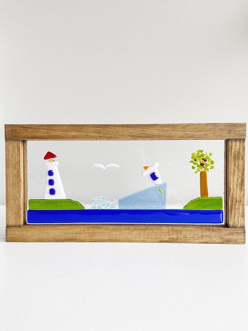 "Large Framed ""By the Seaside"" Scene 