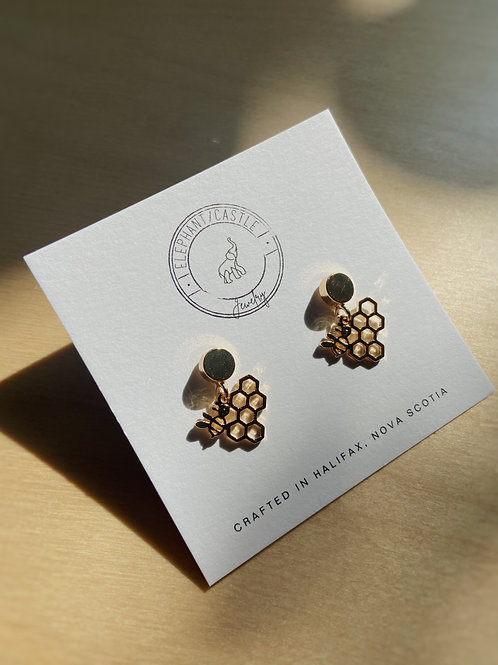 Gold Stud Earrings with Bee and Honeycomb | Elephant/Castle