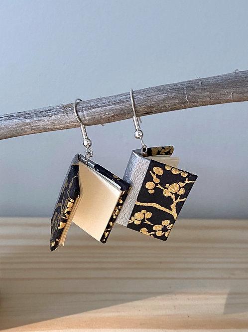 Dream Book Earrings   Black + Gold Cherry Blossom   Terry Durnavich