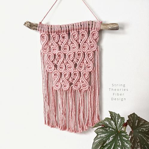 Pink Swirl Macrame Wall Hanging | String Theories Fiber Design
