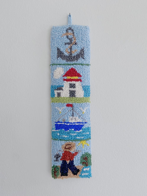 Maritime 4-Block Sampler Hanging | Cheticamp Rug Hooking