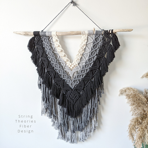 Grey Ombre Detailed Macrame Wall Hanging | String Theories Fiber Design