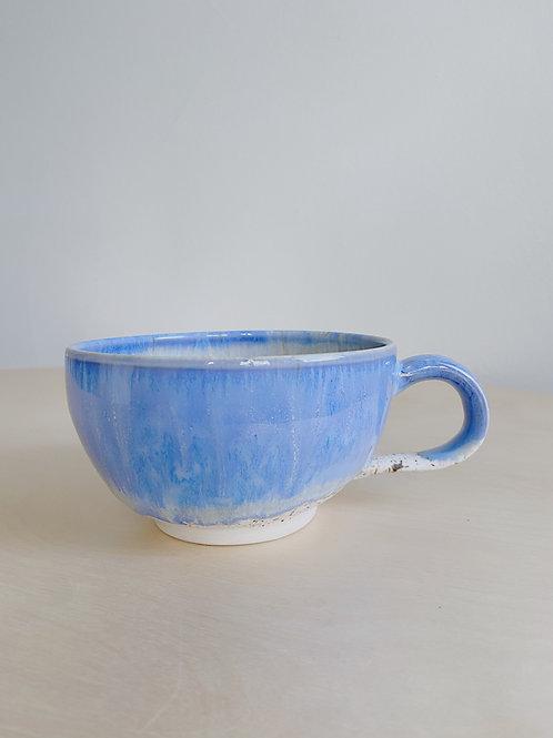 Blue + Oatmeal Latte Mug | Kym's Pottery Studio