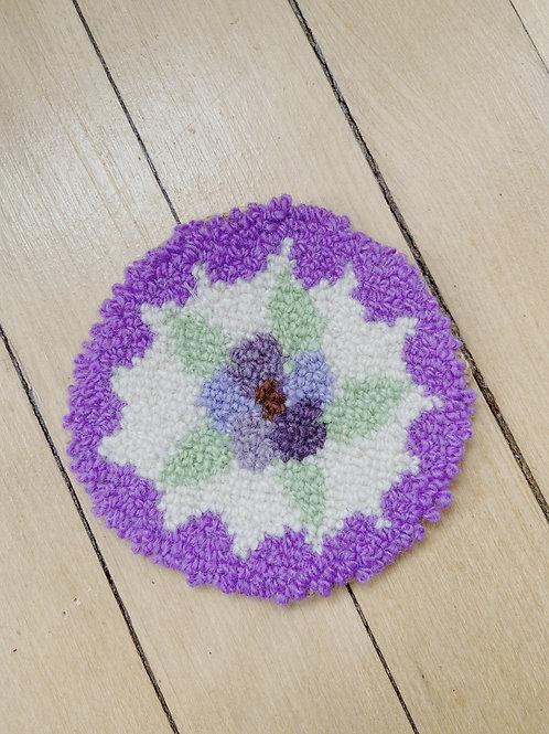 Purple Floral Coaster | Cheticamp Rug Hooking