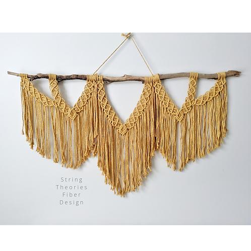 Mustard Triple Fringe Macrame Wall Hanging | String Theories Fiber Design