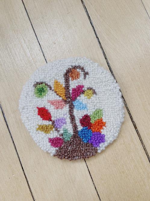 Tree of Life Coaster   Cheticamp Rug Hooking