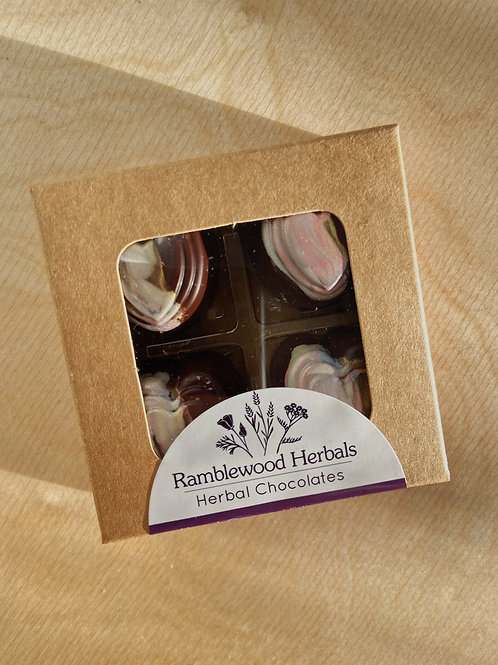 Heart Opener Chocolate Truffles- Box of 4 |  Ramblewood Herbals