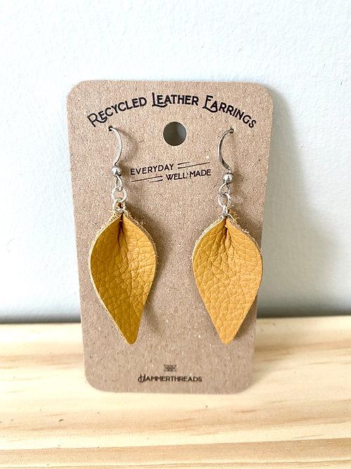 Warm Yellow Leather Leaf Earrings | Hammerthreads