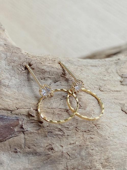 Gold Cubic Zirconia Stud + Hoop Earrings   Elephant/Castle