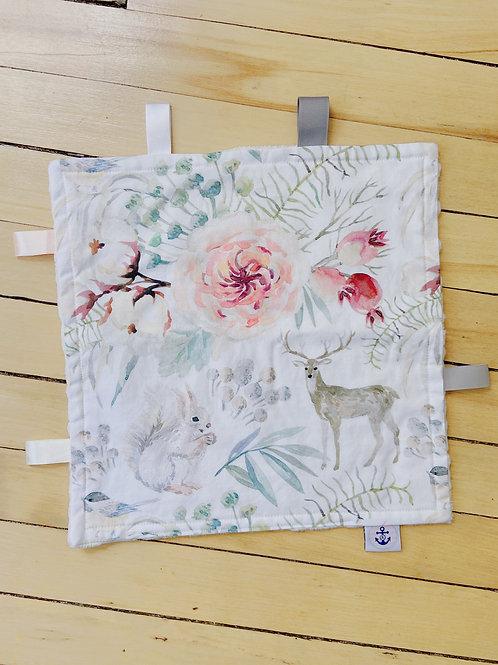 Baby Sensory Ribbon Mini Blanket | Floral Woodland Animals | RoseBay Quilts