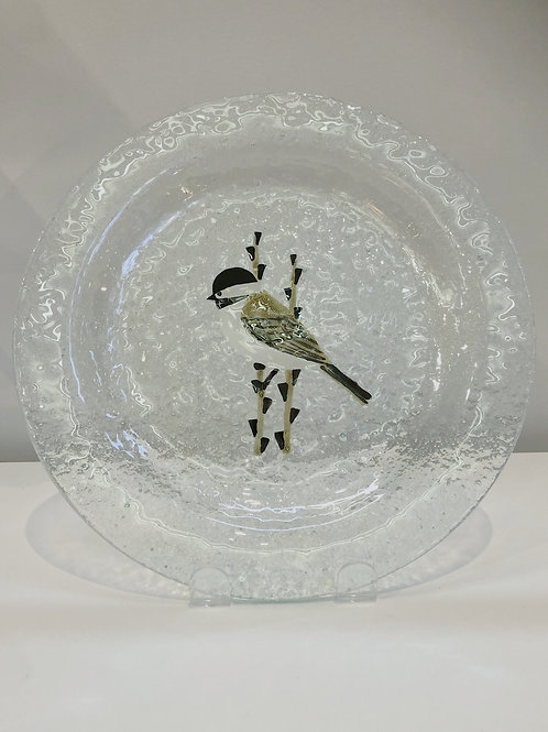 Chickadee Bubble Glass Square Plate | Mariner Craft