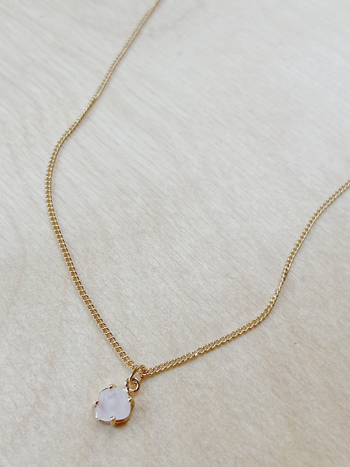 Rose Quartz Square Pendant + Gold Necklace   Elephant/Castle