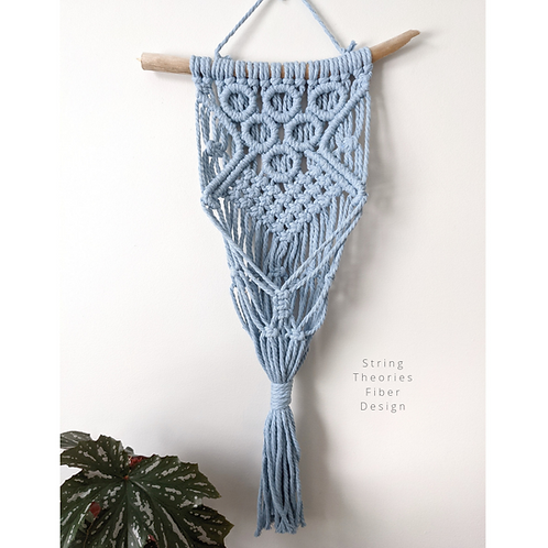 Light Blue Macrame Plant Hanger | String Theories Fiber Design