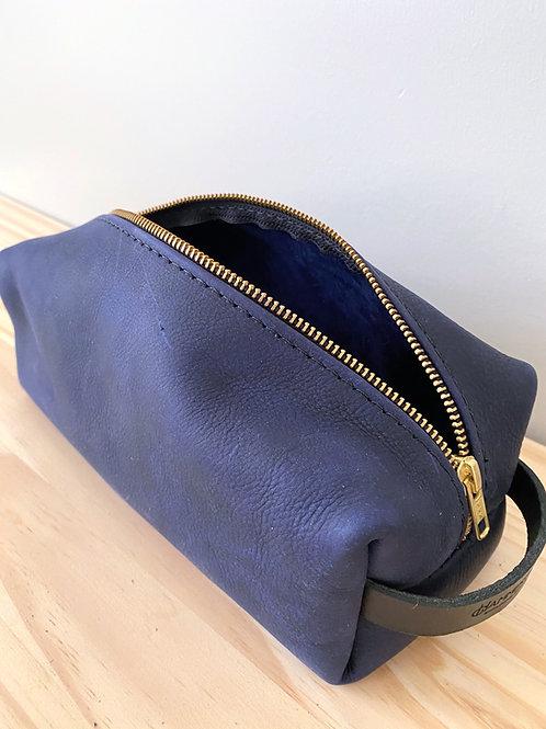 Navy Leather Dopp Kit Bag | Hammerthreads