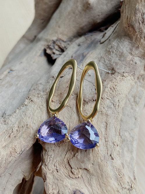 Gold Elongated Stud + Purple Venetian Glass Earrings | Elephant/Castle by Dara