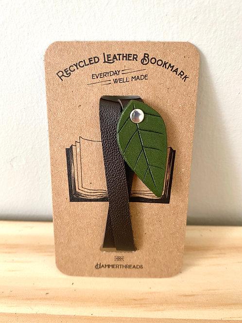 Leather Green Leaf Bookmark | Hammerthreads