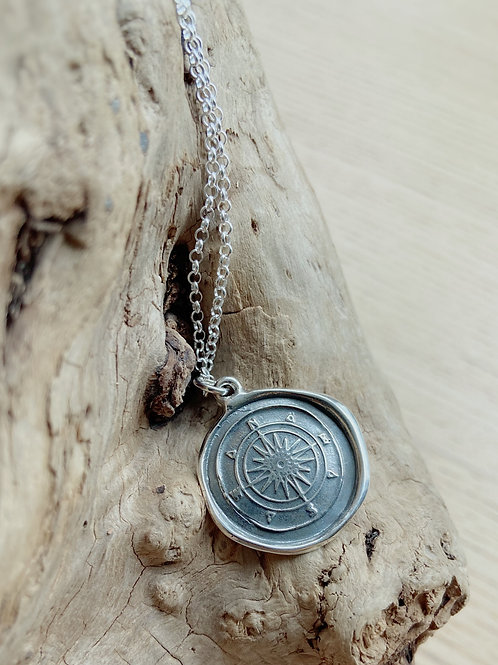 Compass Rose Silver Necklace | Courage + Direction | Plum + Posey
