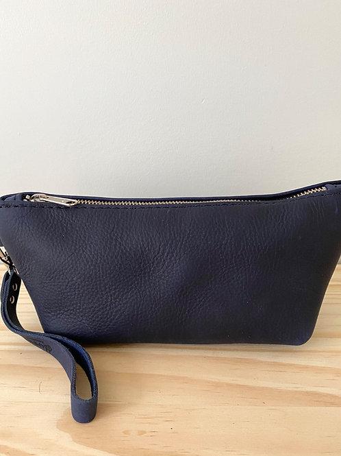 Navy Leather Tri Dopp Kit Bag | Hammerthreads