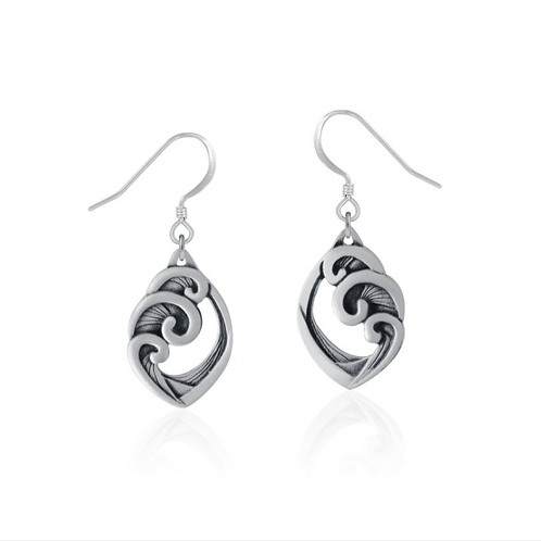 Wave Earrings | Amos Pewter