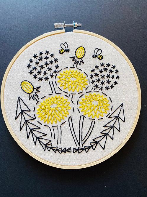 Bee Kind, Dandelion Complete Embroidery Kit | Hook, Line + Tinker