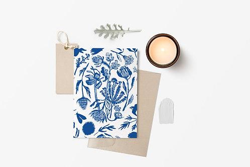 Blue Hand Cut Floral Card | Briana Corr Scott