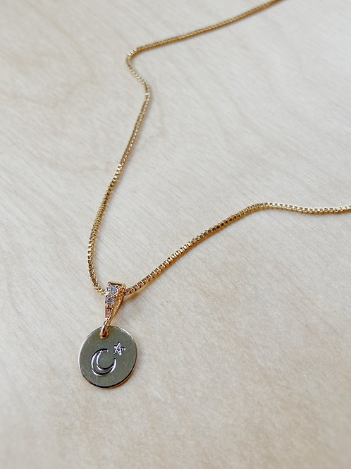 Gold Moon + Star Engraved Charm Necklace   Elephant/Castle