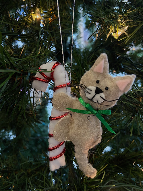 Candy Cane Cat Felt Ornament | Rosemary Taylor