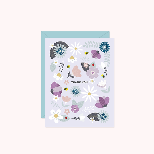 Thank You- Lilac Floral Card   Halifax Paper Hearts
