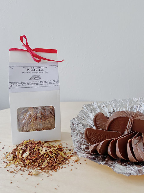 FestiviTea- Chocolate Orange Herbal Tea   Sense + SensibiliTea