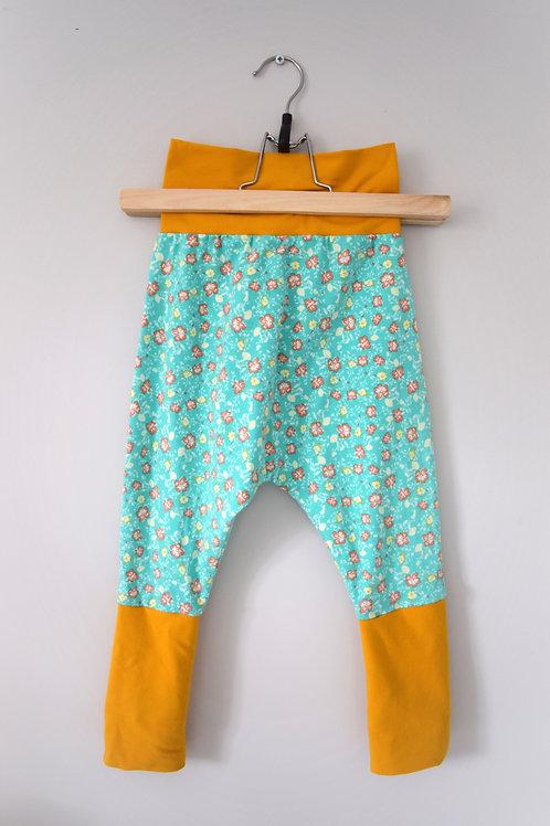 Grow-With-Me Pants |Aqua Floral + Orange