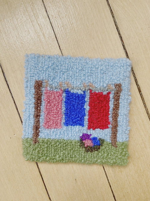 Clothesline Coaster | Cheticamp Rug Hooking