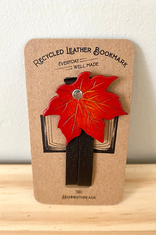 Leather Red Maple Leaf Bookmark | Hammerthreads