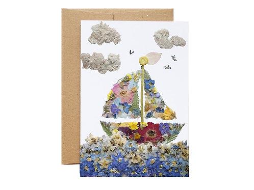 Sailboat Pressed Flower Design Card   Seek + Bloom