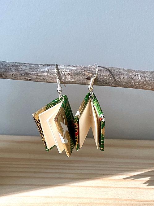 Dream Book Earrings | Green + Gold | Terry Durnavich