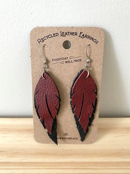 Leather Mahogany + Black Feather Earrings | Hammerthreads