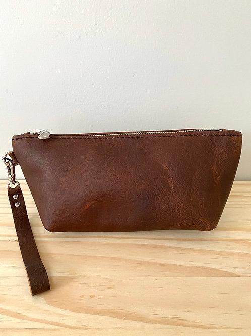 Brown Leather Tri Dopp Kit Bag | Hammerthreads